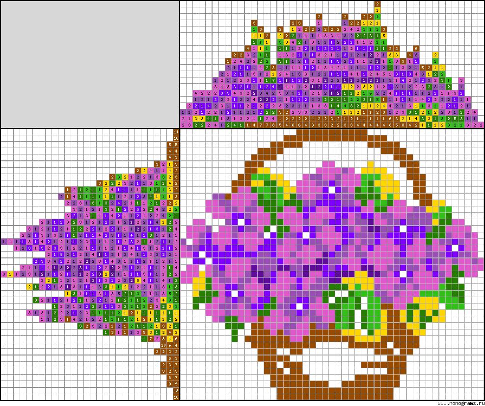 Flower Baskets Crossword Clue : Colour japanese crossword ?basket of flowers?